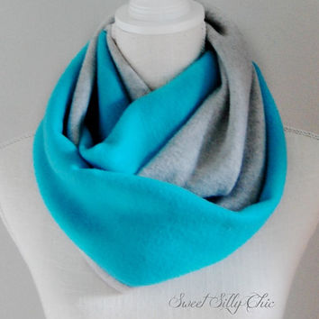 Turquoise Blue and Grey Fleece Infinity Scarf, Fall Winter Scarf, Light Teal, Aqua, Colorblock Infinitiy Scarf