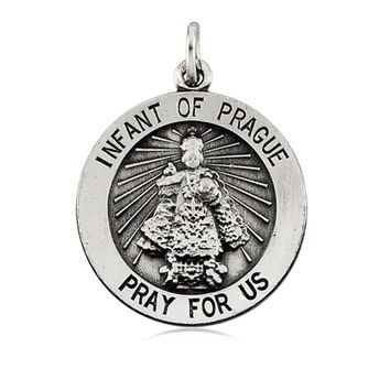 Sterling Silver 18mm infant of Prague Medal Necklace, 18 Inch