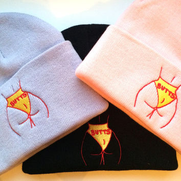 BUTTS Embroidered beanies in Black, Pink, or Violet
