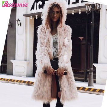 Autumn Winter Thick Warm Faux Fur Coat Long Women Jacket Luxury Furry Pink Women's Fur Coat Shaggy White Fake Fur Coat With Hood