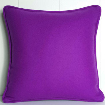 18x18 and 22x22 Magenta Merino Wool Decorative Throw Pillow Cover