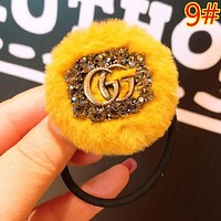 GUCCI Women Fashion New Letter More Diamond Personality Hair Rope Hair Ring Accessories