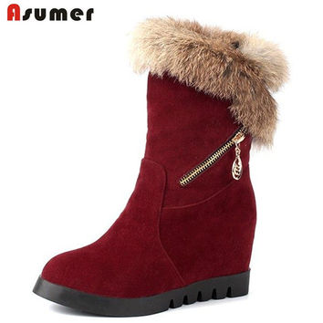 Asumer big size 32-44 winter women shoes unique thick fur warm snow boots round toe height increasing platform half boots