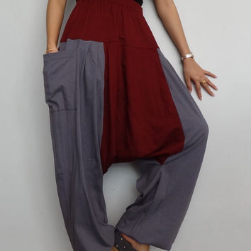 Gray & Red Maroon Drop crotch long trouser,Unisex harem Baggy pants, unique cotton blend (Drop pants-29).