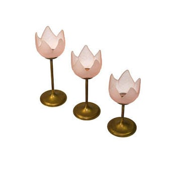 Vintage Tulip Candle Holders Pink Tulip Candle Holders Brass Tulip Candle Holders Graduating Candle Holders Set of 3