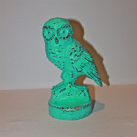 Whimsy Owl Figure/ Aquamarine /Shabby Chic /Painted Vintage /Outdoor/ Indoor Decor