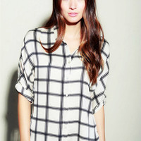 TIMING Taupe/Black Collared Button Up Blouse