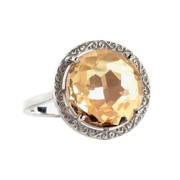 Suzanne Kalan Sterling Silver 12mm Round-Cut Champagne Topaz Filigree Bezel Ladies' Ring