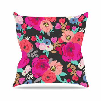 "Crystal Walen ""Sweet Pea"" - Black Floral Outdoor Throw Pillow"