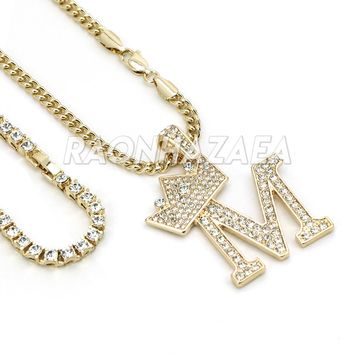 Iced Out Crown M Initial Pendant Necklace Set