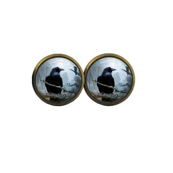 dark raven crow silver or vintage glass stud post earrings