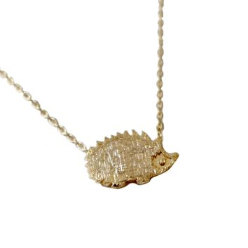 Gold Hedge Hog Necklace