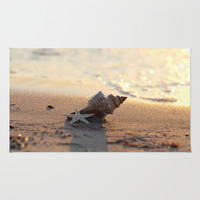 Shell on the sea Area & Throw Rug by Tanja Riedel