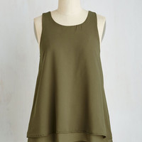 Fairytale Mid-length Sleeveless A-line Show and Tier Top in Thyme