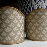 Pair of  Wall Sconce Clip-On Shield Shades Fortuny Fabric Ivory & Gold Canestrelli Pattern Half Lampshade - Handmade in Italy