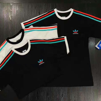 """ADIDAS"" Sports Casual  Three Color Stripe  Short Sleeve Shirt  Tee Top  G-YF-MLBKS"