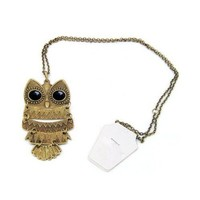 SODIAL- Art deco black eye bronze owl vintage retro Long necklace jewellery pendant | AihaZone Store