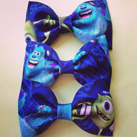 Aqua Royal Blue Monsters University Inc print handmade fabric bow tie or hair bow
