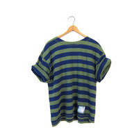 80s striped tshirt vintage basic boxy tee Green Blue ESPRIT shirt Hipster 1980s cotton striped top womens Small Medium shirt Vintage
