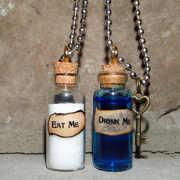 Alice in Wonderland Drink Me/Eat Me Necklace (Customizable)