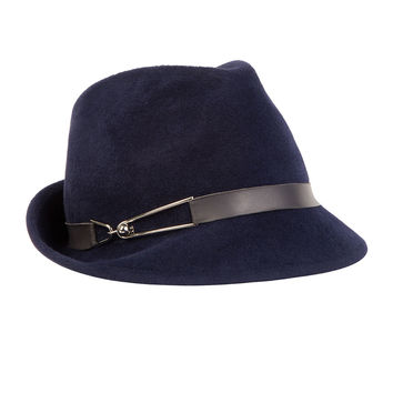 Max Leather-Trim Fedora, Navy, NAVY - Eugenia Kim