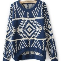 Fashion Geometry Design Printed Knitted Sweater Loose Pullovers Casual Wear