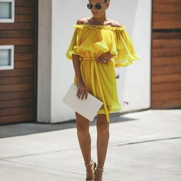Pop Culture Pleated Ruffle Dress - Yellow
