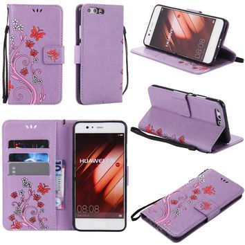 For Huawei P8 Lite Case Coloured Drawing Pattern Embossed Butterfly Leather Wallet  Flip Stand Cover Mobile Phone Shell