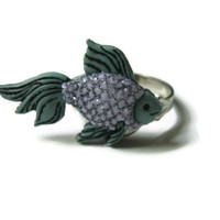 Beta Fish Ring, Green and Purple, Acrylic, Glitter Coated, Adjustable Metal Silver Toned Band