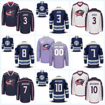Columbus Blue Jackets Jersey Men's 3 Seth Jones 7 Jack Johnson 8 Zach Werenski 10 Alexander Wennberg 100% Stitched Hockey Jerseys
