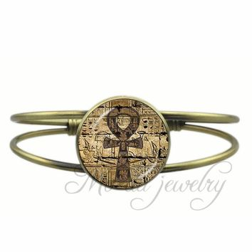 Drop Shipping Ancient Egypt Ankh Open Cuff Bangle Occult Magic Ancient Egypt Bracelet Esoteric Egyptian Bangles Charms Jewelry