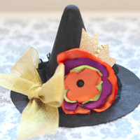 Beautiful Mini Witch Hat in Black/Orange/Purple/Green/Gold for Baby Girl Halloween Costume 6-24 Months old First Halloween Baby Halloween