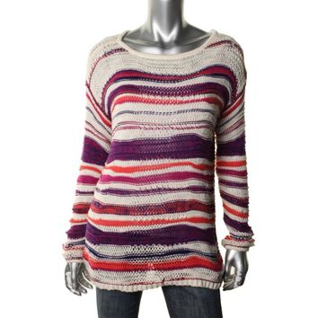 Keds Womens Juniors Open Stitch Striped Pullover Sweater
