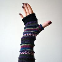 Purple Fingerless Gloves - Knit Fingerless Gloves - Fashion Gloves - Fashion Gloves - Womens Fingerless Gloves - Gift  nO 56.