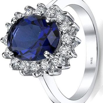 4 Carats Solid Sterling Silver Kate Middleton's Engagement Ring with Simulated Sapphire Blue Color Cubic Zirconia