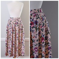 80s Floral Tea Length Skirt