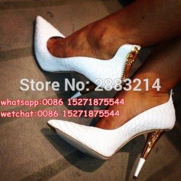 White Leather Pointed Toe Women Pumps Gold Zipper High Heels Shoes Woman Spike Heels Wedding Party Dress Shoes
