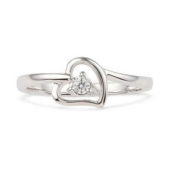 Lab-Created White Sapphire Heart Ring in Sterling Silver - Save on Select Styles - Zales
