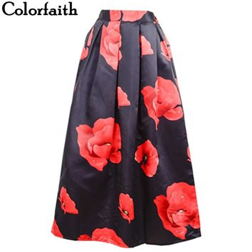 Muslim Women100cm Non-transparent Fashion Satin Long Skirt Vintage Floral Print High Waist Pleated Flared Maxi Skirt SK066