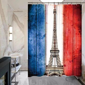 ONETOW Factory Direct Tower Stripes Polyester Waterproof Mold Add Thick Shower Curtain Bathroom Hotel Home Curtain MYSC0036