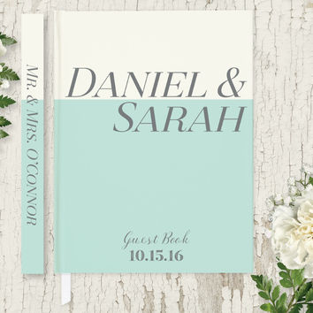 Personalized Wedding Guest Book, Mint Wedding Guest Book, Hardcover Guest Book GB108