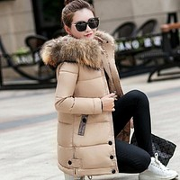 Women Fur Hooded Parka Long Cotton Padded Winter Jacket