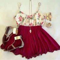 White and Claret Floral Print Dress