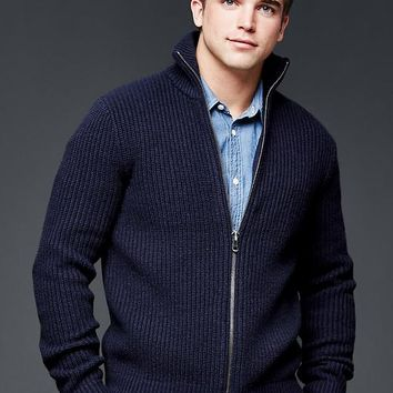 Gap Men Lambswool Mockneck Zip Sweater