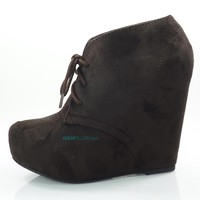 Pager Brown Gunmetal By Soda, F-Suede Laced Up Close Toe Hidden Platform Wedge Bootie Soda Shoes