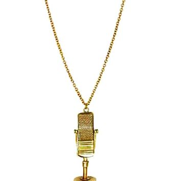 Monserat De Lucca – Brass Ribbon Microphone Necklace In Gold | Thirteen Vintage