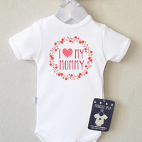 I Love Mommy Baby Clothing. Baby Girl Romper with Floral Print. Baby Girl Clothes. Gift for New Mommy. Choose Your Color.
