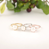 Gold/ Silver/ Pink Gold Fresh Pearl Ring
