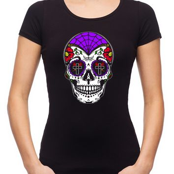 "Sugar Skull Calavera Women's Babydoll Shirt ""Dia De Los Muertos"" Day of the Dead"