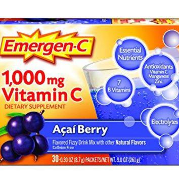 Emergen-C Dietary Supplement Drink Mix-1000 mg Vit C, 0.30 Oz Packs, Caffeine Free, 30 Count